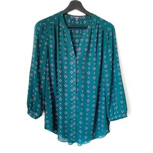 NWOT NYDJ Emerald Green Pintuck Button Up Blouse S